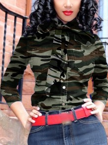 Green Camouflage Print Bow Turndown Collar Single Breasted Work Blouse
