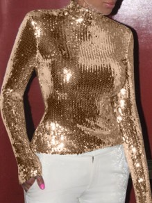 Champagne Golden Sequin High Neck Long Sleeve Glitter Sparkly Birthday Party NYE Blouse