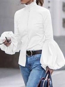 White Patchwork Ruffle Buttons High Neck Lantern Long Sleeve Vintage Work Blouse