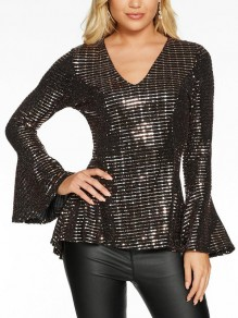 Silver Sequin V-neck Flare Long Sleeve Peplum Glitter Sparkly Casual Blouse