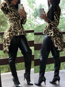 White Leopard Print Band Collar Long Sleeve High-low Casual Blouse