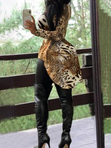 Yellow Leopard Print Band Collar Long Sleeve High-low Casual Blouse