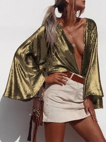 Golden Patchwork Sequin oversize Collarless Flare Sleeve Fashion Blouse