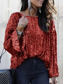 Burgundy Sequin Round Neck Long Sleeve Glitter Sparkly Cute Blouse