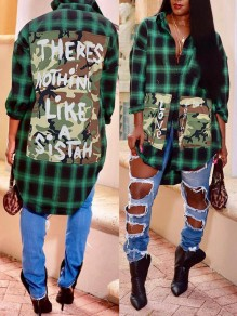 Green Plaid And Letter Print Camouflage Pockets Turndown Collar Long Sleeve Blouse