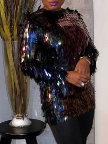 Black Patchwork Sequin Zipper Round Neck Long Sleeve Glitter Sparkly Birthday Party Blouse