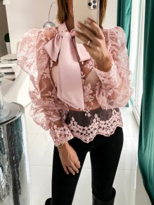 Pink Patchwork Lace Cut Out Puff Sleeve Fashion Blouse
