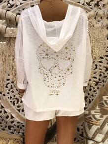 White Skull Pattern Bodycon Comfy Long Sleeve Going out Sweatshirt