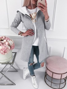 Grey Pockets Zipper Hooded Long Sleeve Cardigan Sweatshirt