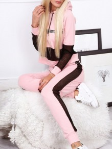 Pink Patchwork Drawstring Grenadine Others Long Sleeve Fashion Jumpsuit