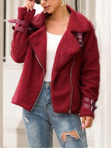 Burgundy Faux Wool Fur Turndown Collar Motorcycle Jacket Teddy Coat
