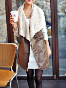 Brown Patchwork Faux Fur Turndown Collar Teddy Cardigan Vest Coat