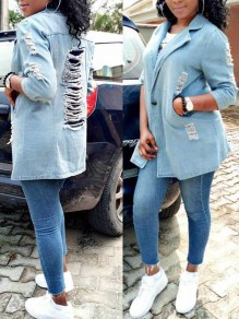 Light Blue Cut Out Distressed Ripped Buttons Pockets Denim Casual Outerwear