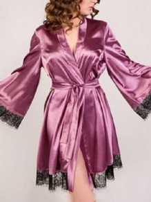 Pink Patchwork Lace Belt Sleepwear Collarless Long Sleeve Satin Pajamas Robe