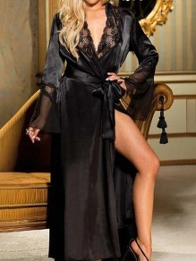 Black Patchwork Lace Belt Sleepwear Long Sleeve Fashion Outerwear