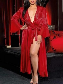 Red Patchwork Lace Satin Belt Sleepwear Long Sleeve Nightgown Pajamas Robe