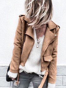 Khaki Fashion Sweet Comfy V-neck Long Sleeve Blazer