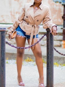 Khaki Sashes Double Breasted Turndown Collar Peplum Casual Trench Coat