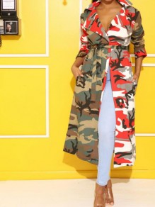 Red Camouflage Print Pockets Sashes Turndown Collar Cardigan Trench Coat