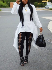 White Zipper Irregular High-Low Pockets Long Sleeve Hooded Casual Outerwear