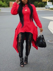 Red Zipper Irregular High-Low Pockets Long Sleeve Hooded Casual Outerwear
