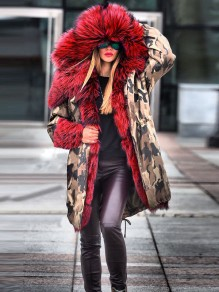 Red Camouflage Pockets Hooded Fur Collar Long Sleeve Parka Coat