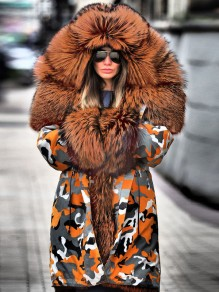 Orange Camouflage Pockets Hooded Fur Collar Long Sleeve Parka Coat