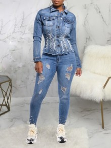 Blue Cut Out Distressed Ripped Tassel Pockets Pearl Denim Casual Outerwear