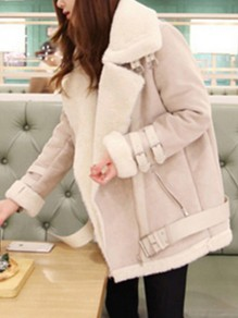 White Patchwork Zipper Buckles Wool Turndown Collar Fashion Outerwear