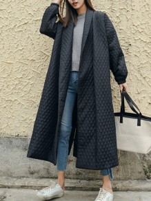 Black Plain Pockets oversize Retro Long Sleeve Elegant Coat