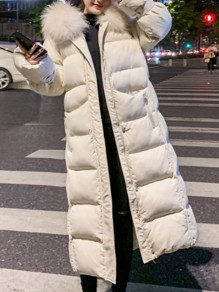 Beige Plain Fur New Fashion Latest Women Hooded Elegant Outerwear