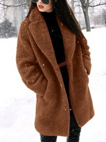 Brown Faux Fur Pockets Band Collar Long Sleeve Fashion Teddy Coat