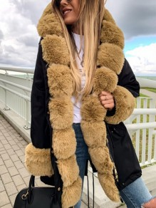 Black Patchwork Faux Fur Drawstring Hooded Long Sleeve Fashion Parka Coat