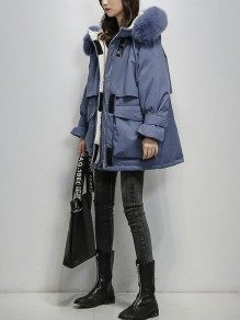 Blue Patchwork Plus Size Zipper Pockets Hooded Fashion Outerwear