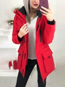 Red Patchwork Zipper Pockets Comfy Fur Hooded Fashion Outerwear