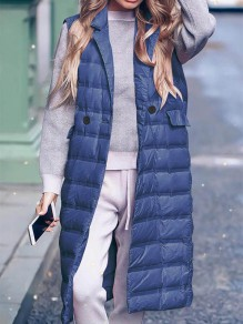 Blue Patchwork Pockets Turndown Collar Sleeveless Fashion Padded Coat