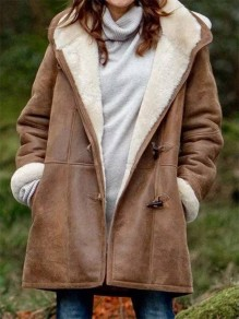 Brown Patchwork Suede Pockets Horn Buckle New Fashion Latest Women Hooded Long Sleeve Modern Coat