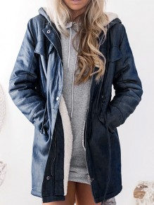 Dark Blue Patchwork Pockets Hooded Long Sleeve Fashion Padded Coat
