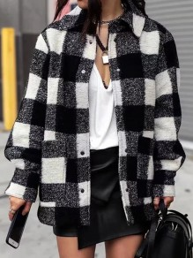 Black White Plaid Buttons Turndown Collar Long Sleeve Flannel Shirt Plaid Jacket