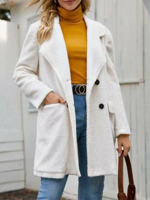 White Patchwork Buttons Turndown Collar Long Sleeve Fashion Wool Coat