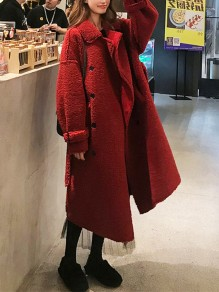 Red Patchwork Buttons Pockets Turndown Collar Fashion Faux Fur Teddy Coat Outerwear