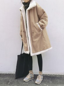 Khaki Patchwork Pockets Turndown Collar Long Sleeve Fashion Padded Coat