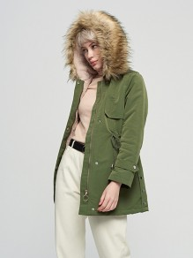 Army Green Patchwork Drawstring Pockets Hooded Long Sleeve Fashion Outerwear