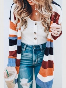 Multicolor Striped Others Long Sleeve Fashion Cardigan Sweater