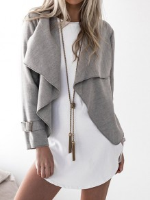 Grey Patchwork Studded Others Long Sleeve Fashion Outerwears