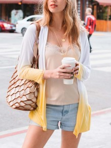 Yellow White Gradient Color Long Sleeve Fashion Cardigan Coat