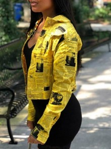 Yellow Newspaper Print Buttons Turndown Collar V-neck Cute Jacket Outerwear