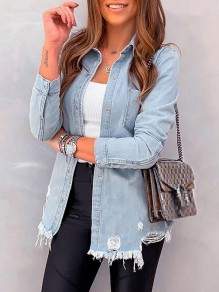 Light Blue Patchwork Pockets Ripped Destroyed Fashion Denim Coat