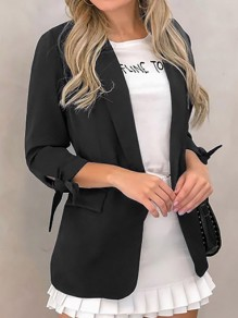 Black Bow Pockets Turndown Collar Long Sleeve Blazer Coat