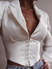 White Single Breasted Deep V-neck Long Sleeve Fashion Ladies Suit